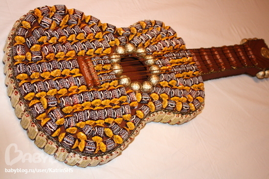 Сделать гитару из конфет своими руками пошаговое